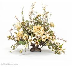 Cream Silk Floral Arrangement - traditional - plants - chicago - by FineStems Artificial Floral Arrangements, Church Flower Arrangements, Church Flowers, Silk Flower Arrangements, Artificial Flowers, Silk Flower Bouquets, Silk Flowers, Flowers Vase, Floral Centerpieces