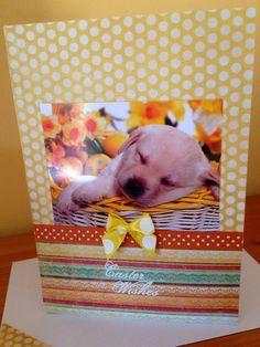 Labrador puppy Easter GREETINGS dog Card handmade by CardsgaloreUK