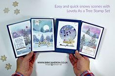 Easy snowy scenes | Video Post with Lovely As a Tree Stamp Set GDP067 | Bibi Cameron Paper Craft Designer