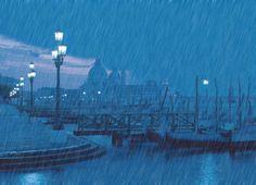Rain. Tons of rain. Rainy pier. Pier lighting. Rainy day in harbor. Rainy night at the port of unknown.