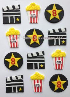 Fondant Cupcake Toppers - Movie Night