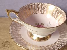 Antique Royal Stafford bone china tea cup set, pink and gold tea cup, English tea set, pink rose tea cup and saucer, pink tea cup set