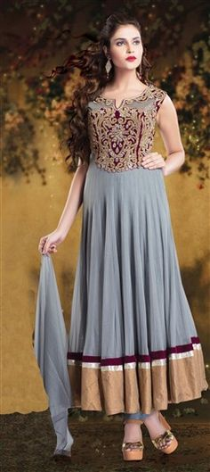 444794 Black and Grey  color family Anarkali Suits in Net fabric with Border, Bugle Beads, Machine Embroidery, Patch, Zari work .