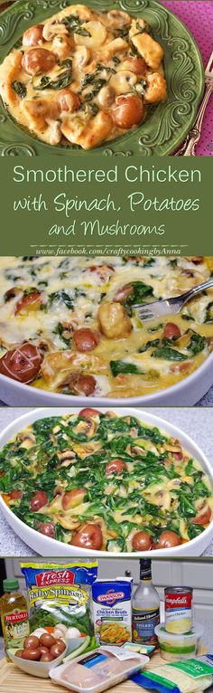 Smothered Chicken with Spinach, Potatoes and Mushrooms!