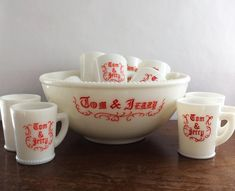 13 Piece Tom and Jerry Set McKee Milkglass Christmas Holiday Punch Bowl Hobnail White Red by LakesideVintageShop on Etsy