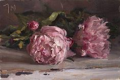 Peonies. painting by Julian Merrow-Smith 5/4/16. Total control, luscious color.