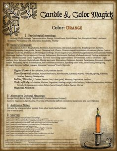 Candles:  Candle & Color Magick ~ Orange.