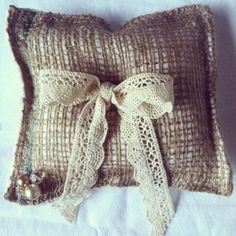 Burlap ring bearer pillow with cream gold tone by PillowsBeyond, $11.50