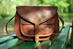 15 leather crossbody purse / brown leather by soulfulcollection