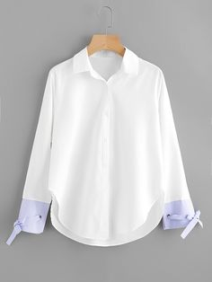 Blusa con diseño de cordón de puño de rayas en contraste-Spanish SheIn(Sheinside)