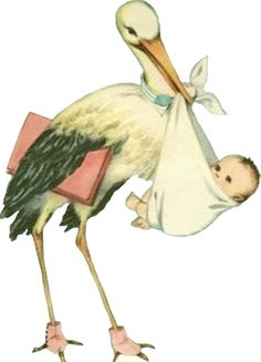 Vintage Stork with Baby Scrap Clipart Baby, Vintage Greeting Cards, Vintage Postcards, Storch Baby, Baby Illustration, Images Vintage, Baby Clip Art, Retro Baby, Baby Mine