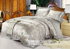 60S Classic luxurious European Style  Silver grey 50% noble king  wedding bedding set / bed sheet /duvet cover/comforter set-in Bedding Sets...