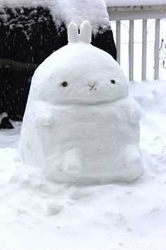Snow Molang! Molang is a cute Korean bunny who is grumpy all the time