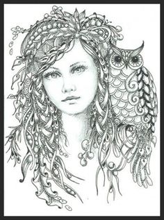 intricate forest fairy and owl difficult coloring pages for adults