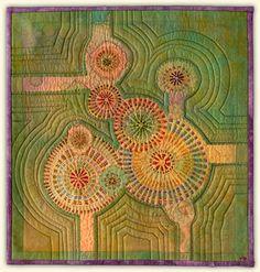 "Guavas by Marianne Burr. 12"" x 12"" Hand stitched silk with silk organza hand appliqué"