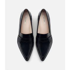 Zara Antik Penny Loafers featuring polyvore, women's fashion, shoes, loafers, zara footwear, fleece-lined shoes, zara shoes, penny loafer shoes and polyurethane shoes