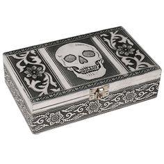 HAB & GUT (BOX011V) Aluminium jewellery box, SKULL, 7.9 x 4.7 x 2.4 inches: HAB & GUT: Amazon.co.uk: Jewellery