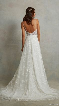 tara lauren spring 2018 bridal sleeveless spaghetti strap deep sweetheart neckline full embellishment romantic a line wedding dress open back sweep train (9) bv