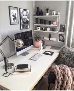 Chic grey pink and white office inspo decor Schickes graues rosa und weißes Büro inspo Dekor Home Office Design, Home Office Decor, House Design, Office Designs, Office Furniture, Feminine Office Decor, Work Desk Decor, Cute Desk Decor, Office Ideas For Home