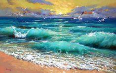 Articoli simili a Mare caraibico - spatola pittura a olio su tela da Dmitry Spiros. Pronto ad appendere * dimensioni: 44