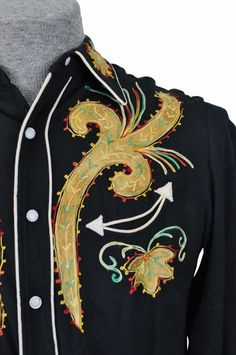embroidery close-up, men's vintage western shirt