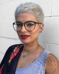 Buzzed short blonde pixie cuts