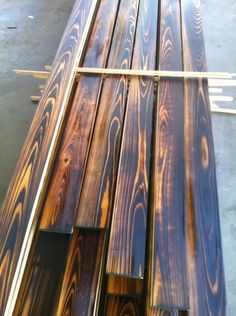 burnt cedar boards | Shou-sugi-ban / Charred Wood Siding / Burnt Wood Siding. I would love to know how to do this!! Beautiful!!
