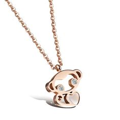 Monkey pattern jewelry Monkey pattern necklace Rose gold plated titanium steel clavicle chain: