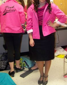 """The Pink Ladies' jackets were made from scratch because we wanted them to be more like bowling jackets than windbreakers. The logo and the names of the """"ladies"""" were put on with fabric markers. Ladies Jackets, Jackets For Women, Grease Theme, Costume Ideas, Costumes, 50th Party, Year 6, Fabric Markers, Pink Lady"""