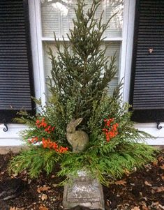I adore this charming container with the bunny rabbit holding court! and state: Winter Containers 2014 Christmas Urns, Christmas Planters, Christmas Greenery, Christmas Arrangements, Outdoor Christmas Decorations, Country Christmas, Christmas Holidays, Christmas Wreaths, Natural Christmas