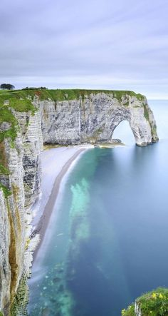 Les Falaises d'Etretat, or the cliffs at Etretat, in France.