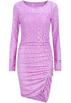 Purple Long Sleeve With Zipper Asymmetrical Dress 21.83