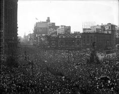 Detroit floods Campus Martius to celebrate the end of World War I in 1918. That's the Majestic Building at left; the old Detroit Opera House at right; & you can see Hudson's in the back there as we look up Woodward Ave. The only thing that still remains in this shot is the venerable Soldiers & Sailors Monument (Photo from the Burton Historical Collection). - photo via HistoricDetroit.com on fb