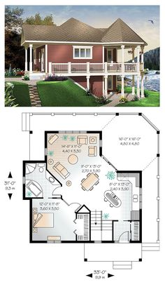 House Plan 65566 - Cottage, Country, Victorian Style House Plan with 840 Sq Ft, 1 Bed, 1 Bath Cottage Style House Plans, Cottage Plan, Cottage Style Homes, Lake Cottage, Sims 4 House Plans, Small House Plans, House Floor Plans, Tiny Home Floor Plans, Beach House Plans