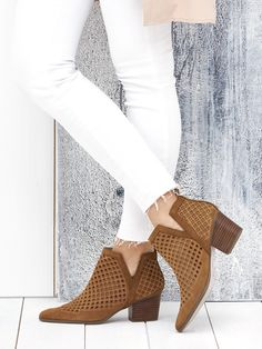 Diamond perforated suede booties | Sole Society Barcelona