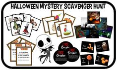 This is not your typical scavenger hunt. Players hunt for clues to discover who, with what, and where Jack the King of Halloween is being held hostage. It's like a live action version of Clue the board game. Teen Halloween Party, Halloween Games, Halloween Party Costumes, Halloween Birthday, Halloween Activities, Holidays Halloween, Scary Halloween, Preschool Halloween, Scavenger Hunt Party