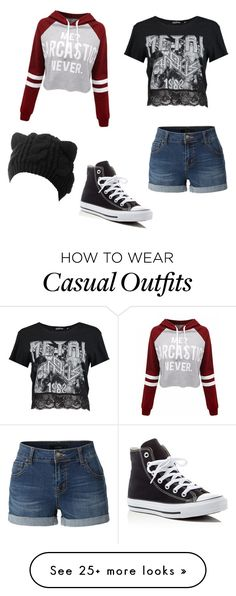 """Casual"" by g0dd3ssgirl on Polyvore featuring LE3NO, Boohoo, WithChic and Converse"