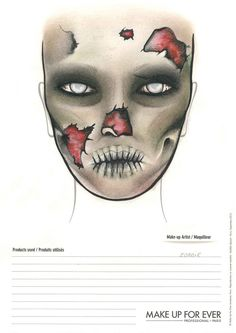 Face chart: zombie