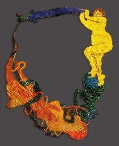 """JOYCE J. SCOTT BLUE ARROW Neckpiece. 2014. Peyote-stitched glass beads, thread  10"""" x 8"""""""