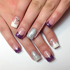 White and purple French nails