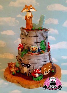 Woodland birch tree cake