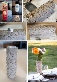 6 DIY vases reusing everyday items. #2 Pringles can.: