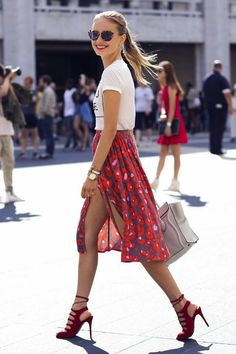 With a printed skirt (likethisone orthisone) viaFashion Bloggers. via @stylelist | http://aol.it/1zX84ES