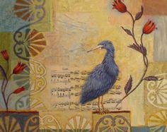 "ORIGINAL PAINTING on panel, 24"" x 24"", art, bird, heron, whimsical, blue, garden, collage, mixed media, yellow, music, flowers, blue, quiet"