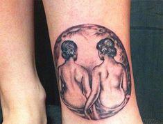 Gemini Women on the Moon Tattoo