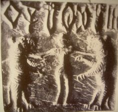 A woman flanked by rampant tigers, a theme repeated in another seal, with identical glyphs at top. Potnia Theron, Harappan, Mohenjo Daro, Indus Valley Civilization, History Of India, Glyphs, Beast, Moose Art, Dance