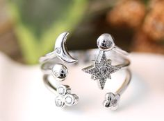 Multi Universe Crescent Moon Star Ring Adjustable by authfashion