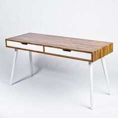 Mid Century Modern Two-Drawer Desk. Large by FlintAlleyFurniture Mid Century Desk, Desk With Drawers, Stripes Design, Home Office, Dining Bench, Mid-century Modern, Bamboo, Retro, Wood