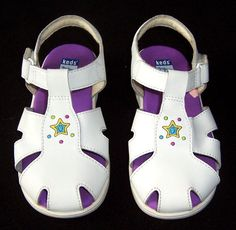 Keds Leather White Sandals Toddler Girls Size 10 Velcro T-Strap Casual Summer #Keds #Sandals #Auction