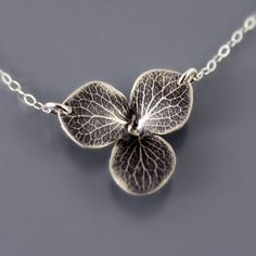 Sterling Silver Hydrangea Blossom Necklace by Lisa Hopkins Design
